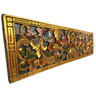 """Bali Lotus architectural Relief Panel hand carved wood wall Art Decor teal 39"""""""