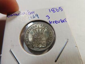 H69 German State Bavaria 1868 3 Kreuzer