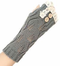 Women's Fingerless Arm Warmer Long Gloves - Lace Button Gray/Beige