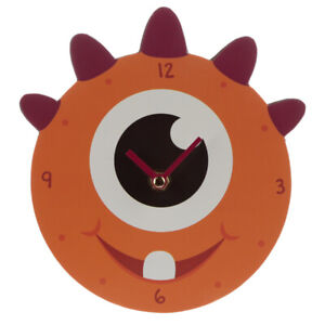Decorative Monster Monstarz Orange Wall Clock Fantasy Funky And Colourful Design