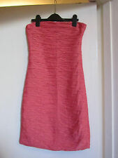 Bandeau Short Coral Pink Wrinkled Bodycon / Boob Tube Dress by Zara in Size 8