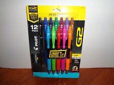 12 Pack Pilot Multi-Color Comfort Grip G2 0.7mm Fine Tip Gel Ink Retractable Pen
