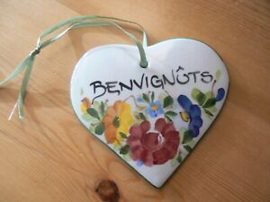 """Italian Made Heart Wall Ceramic Plaque """"Benvignuts"""" meaning """"WELCOME"""""""