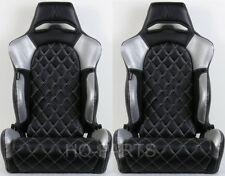 2 X TANAKA BLACK & SILVER PVC LEATHER RACING SEATS DIAMOND STITCH FITS BMW