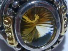 BJC 14K GOLD STERLING AND CITRINE LARGE COLLECTIBLE WOMENS RING BAND SIZE 6.25