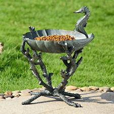 Spi Home Seahorse Birdbath Bird Feeder Garden Sculpture Coral Sea Life - New