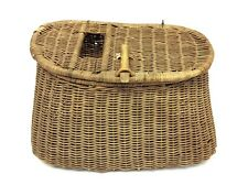 Vintage Used Wicker Woven Fly Fishing Creel Basket with Straps