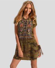 Johnny Was Workshop tunic Bohdi Lace up silk camo tunic boho haute peasant NWT S