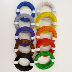 10m Ringe LivY Kabel AWG32 0,04mm²  Decoderlitze Kupferlitze 10 Farben