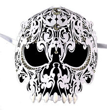 Demon Skull Laser Cut White Metal Masquerade Mask With Clear Rhinestones