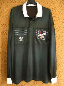 Maillot Arbitre Ligue LMF Porté Adidas Football vintage Noir Trefoil 80'S - L