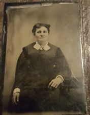 Early Tintype Tin Type Photo 1800's- Middle Aged Woman Black Dress Brooch Cameo