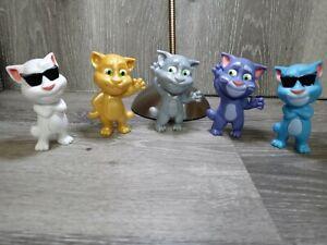 Set of 5 Talking Tom Cat Toys Still Working McDonalds 2016 wow!