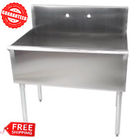 """36"""" Commercial Kitchen Utility Sink Stainless Steel 36"""" X 24"""" X 14"""" Bowl 16Gauge"""