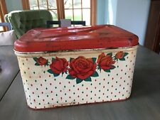 Vintage Tin Bread Box Roses And Green And Red Diamonds. Red Lid. Early 1900's