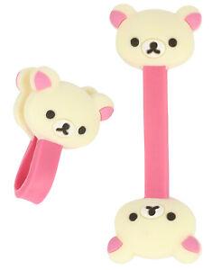 2x Kabelbinder für Kopfhörer, Kabelhalter und Kabelmanager, Bärkopf, creme/rosa