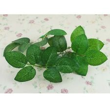 100pcs Green Artificial Rose Leaf Leaves Fabric For Bouquet Garland Craft Decor