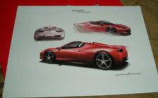 FERRARI 458 Spider Lithograph - Design Sketch - no brochure Prospekt 95998130