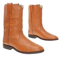 CUSTOM Cowboy Boots 10 C Mens Cognac Brown Leather Western Roper Boot Motorcycle