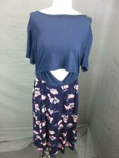 NWT SMALL SHOW SIZE XL WOMENS PURPLE/NAVY SHORT SLEEVE MATERNITY MAXI DRESS T567