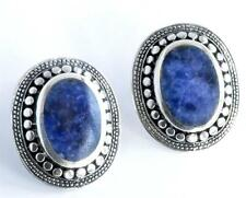 VINTAGE ARTISAN HANDCRAFTED LAPIS STERLING SILVER EARRINGS 9.3g OVAL