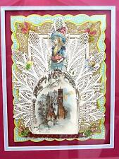 Matted & Framed Antique Elaborate Valentine w Orig Envelope 1896 Annie Liddell
