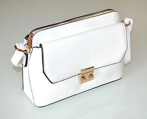 SAC BLANC à main pochette femme faux cuir doré bolsa zip handtas zak G96