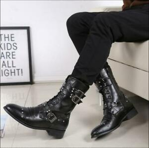 British Chic Punk Men/'s Rivet Gothic Pointed Toe Casual Black Ankle Boos Shoes @