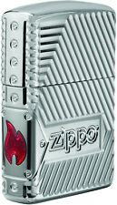 Zippo Choice Bolts Design Armor High Polish Chrome Windproof Lighter 29672 NEW