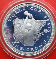 """Isle of Man 1 Crown 1982 Silber """"WC 1982"""" #F 1056 PP-Proof KM# 91a"""