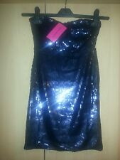 size 6 christmas party dress sequin bnwt black/blue