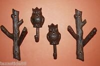 (4) WOODSY TREE BRANCH OWL, WALL HOOKS, CAST IRON, OWL AND TREE SET, H-42,43