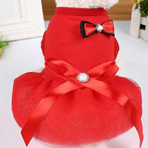 Pet Clothes Summer Dog Cat Bowknot Dress Chihuahua Yorkshire Wedding Tutu Skirt
