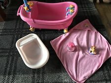 Baby Born Pink bath and shower With Towel And Bath Toy Accessories