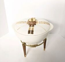 Georges Briard Casserole Stand Chafing Mid Century Modern Wood Gold 2.5 Qt 60S