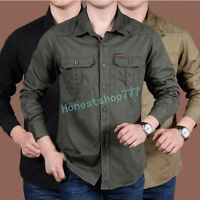 Mens Outdoor Sport Army Tactical Military Casual Long Sleeve Hunting Tops Shirts