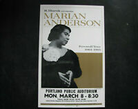 1964 MARIAN ANDERSON Concert Poster Window Card 14x22 in. VINTAGE SOL HUROK
