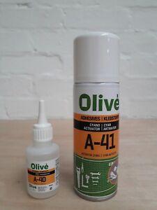 Olive A-40 Superglue 50g and A-41 Activator 200ml Bundle