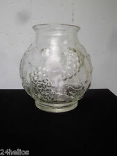 Grand Bocal Verre Moulé motif de Fruits Ht.23,5cm Parfait état /Bonbon/Vase