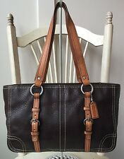 $338 - COACH Large Brown & Tan Leather Hamptons Handbag Shoulder Bag Tote #12339