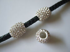 5 x White Rhinestone Pave Clay Barrel Slider Spacer Beads Fit Charm Bracelet