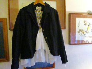 Trelise Cooper Black Jacket with bustle 12 Quirky details Fab cond Versatile