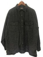 Structure Urban Wear Men's Shirt Heavy Wool Blend Black Brown Plaid Jacket - XL