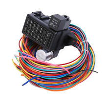 12 Circuit Universal Wire Harness 14 Fuse 12v with BRAIDED WIRE SHIELD New Hot