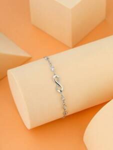💥 New Heart Infinity Link Bracelet Rhinestones & Silver Tone 💥