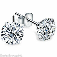 925 Sterling Silver 5MM Round Pair Cubic Zirconia Stud Earrings Unisex Wedding