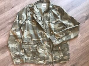 Mudd Brand Ladies Womens Camo Jacket Coat Camouflage Size XL Green Lightweight