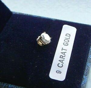 9ct GOLD MENS SINGLE 0.46ct 5mm ROUND CUT LAB DIAMOND STUD EARRING BOXED