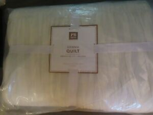 Pottery Barn TEEN Gemma Quilt~FULL/QUEEN-IVORY-NEW W/ TAGS~RUCHED-GATHERED