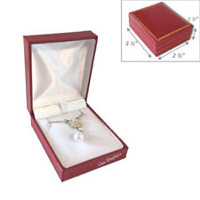 ~QUALITY~LEATHERETTE PENDANT BOX LARGE RED EARRING BOX RED JEWELRY BOX GIFT BOX